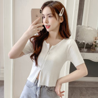Wool knitwear Summer 2021 S M L white Short sleeve singleton  Cardigan other More than 95% have cash less than that is registered in the accounts Thin money commute Self cultivation Low crew neck routine Solid color zipper Korean version 18-24 years old Guan Jie zipper Other 100%
