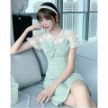 Dress Summer 2021 green S M L XL Mid length dress singleton  Short sleeve commute Doll Collar High waist lattice Socket A-line skirt puff sleeve Others 25-29 years old Type A Tong Shiyao literature Embroidered and stitched lace TSY21X9007 81% (inclusive) - 90% (inclusive) polyester fiber