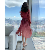 Dress Spring 2021 gules S M L XL Mid length dress singleton  Long sleeves commute other High waist Solid color Socket A-line skirt pagoda sleeve Others 25-29 years old Type A Tong Shiyao lady Bow tie pleat TSY21C7285 81% (inclusive) - 90% (inclusive) Chiffon polyester fiber Polyester 90% other 10%