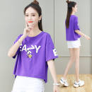 T-shirt Purple, light yellow, white, pink S,M,L,XL,2XL,3XL Summer 2020 Short sleeve Crew neck easy have cash less than that is registered in the accounts routine commute cotton 96% and above 18-24 years old Simplicity originality letter Pu Hua printing