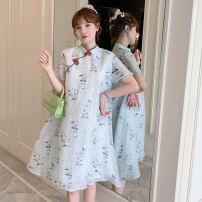 cheongsam Summer 2021 M L XL 2XL 3XL 4XL Blue cheongsam dress Short sleeve Short cheongsam grace No slits daily Oblique lapel Decor 18-25 years old Piping XHA-2F023-850 Hin coast other Other 100% Pure e-commerce (online only)