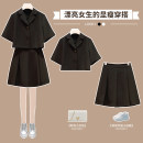 Women's large Summer 2021 Black uniform top black pleated skirt black two piece suit Large L Large XL Large 2XL large 3XL large 4XL skirt Two piece set commute easy thin Cardigan Short sleeve Solid color Ol style Polo collar have cash less than that is registered in the accounts routine Hin coast