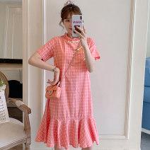 cheongsam Summer 2021 M L XL 2XL 3XL 4XL Pink cheongsam dress Short sleeve Short cheongsam Retro No slits daily Ruyi lapel lattice 18-25 years old Piping XHA-2F023-8887 Hin coast other Other 100% Pure e-commerce (online only) 31% (inclusive) - 50% (inclusive)