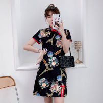 cheongsam Summer 2021 M L XL 2XL 3XL 4XL Black Guochao cheongsam dress Short sleeve Short cheongsam grace No slits daily Oblique lapel lattice 18-25 years old Piping XHA-4F033-5032 Hin coast cotton Cotton 81% others 19% Pure e-commerce (online only) 81% (inclusive) - 90% (inclusive)