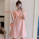 cheongsam Summer 2021 M L XL 2XL 3XL 4XL Pink cheongsam dress Short sleeve Retro No slits Oblique lapel lattice 18-25 years old Piping Hin coast other Other 100% Pure e-commerce (online only)