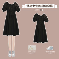 Dress Summer 2021 White dress black dress M L XL 2XL 3XL 4XL Middle-skirt singleton  Short sleeve Sweet One word collar High waist Solid color Princess Dress puff sleeve 25-29 years old Hin coast XHA-3F131-979 More than 95% Silk and satin cotton Cotton 96% other 4% Pure e-commerce (online only)