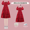 Dress / evening wear Wedding routine M L XL 2XL 3XL 4XL Red cake skirt Sweet longuette High waist Summer 2021 Fluffy skirt One shoulder 18-25 years old XHA - 4F019 - two thousand and twenty-eight Short sleeve Diamond ornament Solid color Hin coast bishop sleeve Other 100% Glass drill