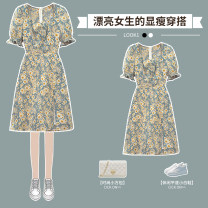 Dress Summer 2021 Blue Floral Dress L XL 2XL 3XL 4XL longuette singleton  Short sleeve street V-neck High waist Solid color Socket Irregular skirt routine 25-29 years old Hin coast printing XHA - 3F016 - six hundred and twenty-five 91% (inclusive) - 95% (inclusive) cotton Cotton 91% others 9%