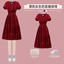 Dress / evening wear wedding M L XL 2XL 3XL 4XL Red dress black dress Intellectuality longuette High waist Summer 2021 A-line skirt One shoulder Deep V style 26-35 years old XHA-5F034-586 Long sleeves Nail bead Solid color Hin coast routine Other 100% Pure e-commerce (online only)