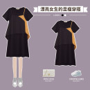 Women's large Summer 2021 Fake black two piece suit M large L Large XL Large 2XL large 3XL large 4XL Dress Two piece set commute easy thin Socket Short sleeve Solid color Korean version Crew neck routine other Three dimensional cutting routine XHA-5F048-9186 Hin coast 18-24 years old Asymmetry shorts