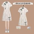 cheongsam Summer 2021 L XL 2XL 3XL 4XL White cheongsam dress Short sleeve Short cheongsam Retro Low slit daily Oblique lapel Decor 18-25 years old Piping XHA-3F085-8703 Hin coast other Other 100% Pure e-commerce (online only)