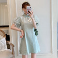 cheongsam Summer 2021 M L XL 2XL 3XL 4XL Light green cheongsam dress Short sleeve Short cheongsam Retro No slits daily Oblique lapel Solid color 18-25 years old Piping XHA-2F023-8900 Hin coast other Other 100% Pure e-commerce (online only)