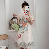 cheongsam Summer 2021 M L XL 2XL 3XL 4XL Apricot cheongsam dress Short sleeve Short cheongsam grace No slits daily Oblique lapel lattice 18-25 years old Piping XHA-4F033-5060 Hin coast cotton Cotton 96% other 4% Pure e-commerce (online only) 96% and above