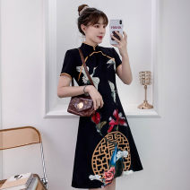 cheongsam Summer 2021 4XL M L XL 2XL 3XL Black Guochao cheongsam dress Short sleeve Short cheongsam grace No slits daily Oblique lapel lattice 18-25 years old Piping XHA-4F033-5030 Hin coast cotton Cotton 96% other 4% Pure e-commerce (online only) 96% and above