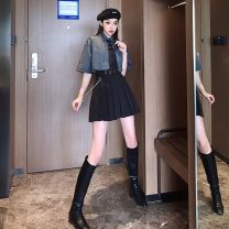 skirt Summer 2020 S,M,L Black [belt + Chain], grey shirt + pleated skirt [belt + Chain], long sleeve shirt + pleated skirt [belt + Chain] Short skirt street High waist Pleated skirt Solid color Type A 18-24 years old other Other / other cotton 401g / m ^ 2 (inclusive) - 500g / m ^ 2 (inclusive)