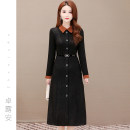 Dress Spring 2021 black L XL 2XL 3XL 4XL longuette singleton  Long sleeves commute Polo collar High waist Solid color Socket A-line skirt routine Others 40-49 years old Type A Zhuoluan Simplicity Button ZLAD2143 More than 95% polyester fiber Other polyester 95% 5%