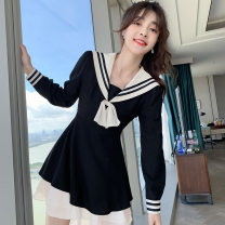 Dress Spring 2021 black S,XL,L,M Short skirt singleton  Long sleeves Admiral High waist Solid color zipper Ruffle Skirt Wrap sleeves Others 18-24 years old Type A Other / other Stitching, ruffle, three-dimensional decoration 81% (inclusive) - 90% (inclusive) other polyester fiber