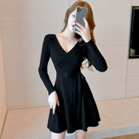 Women's large Winter 2020 Black long sleeve S M L XL XXL 3XL Dress singleton  commute Self cultivation moderate Socket Long sleeves Solid color Korean version V-neck Medium length cotton printing and dyeing routine Detto 25-29 years old Bandage Short skirt Exclusive payment of tmall other