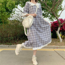Dress Summer 2021 Picture color S,M,L,XL,2XL Mid length dress singleton  elbow sleeve Sweet Doll Collar High waist lattice Socket A-line skirt routine Others 18-24 years old Type A Tagkita / she and others Bow tie Tongtong home 51% (inclusive) - 70% (inclusive) other cotton solar system