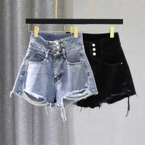 Jeans Spring 2021 Black light blue S M L XL shorts High waist Wide legged trousers routine 25-29 years old Wash zipper multiple pockets Cotton denim Dark color hxe356 Forgetful words 91% (inclusive) - 95% (inclusive) Cotton 95% other 5% Pure e-commerce (online only)