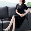 Dress Summer 2021 black S M L XL 2XL 3XL 4XL Mid length dress Short sleeve V-neck other other 35-39 years old Mu Yixin XBH6590 More than 95% other other Other 100% Pure e-commerce (online only)
