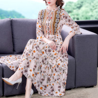 Dress Summer 2021 Apricot M L XL 2XL 3XL Mid length dress singleton  elbow sleeve commute V-neck Loose waist Decor pagoda sleeve 35-39 years old Mu Yixin lady zipper NEJ2118 More than 95% other Other 100% Pure e-commerce (online only)