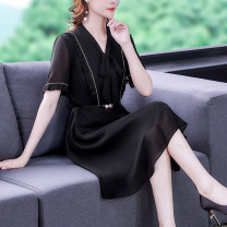 Dress Summer 2021 black S M L XL 2XL 3XL Mid length dress singleton  Short sleeve commute V-neck middle-waisted Solid color Socket A-line skirt routine Others 35-39 years old Type A Mu Yixin lady NEJ9760 More than 95% Chiffon other Other 100% Pure e-commerce (online only)