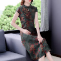 Dress Summer 2021 Decor L XL 2XL 3XL 4XL Mid length dress singleton  Sleeveless commute Crew neck middle-waisted Decor zipper routine 40-49 years old Type H Mu Yixin Retro printing NEJ9552 More than 95% other other Other 100% Pure e-commerce (online only)