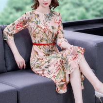 Dress Summer 2021 Decor S M L XL 2XL Mid length dress singleton  three quarter sleeve commute Crew neck middle-waisted Decor Single breasted A-line skirt routine 35-39 years old Type A Mu Yixin lady printing XBH8238 More than 95% other Other 100% Pure e-commerce (online only)