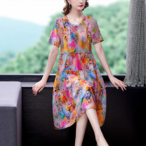 Dress Other 100% Pure e-commerce (online sales only) Summer 2021 Short sleeve singleton  Medium length skirt commute Crew neck routine Loose waist Design and color 40-49 years old Condom other More than 95% other Type A Other NRJ637 Retro Mu Yixin printing Crepe de Chine M L XL 2XL 3XL 4XL 5XL