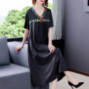 Dress Summer 2021 black L XL 2XL 3XL 4XL Mid length dress singleton  Short sleeve commute V-neck Solid color Socket routine 40-49 years old Type H Mu Yixin lady printing NEJ9558 More than 95% other Other 100% Pure e-commerce (online only)