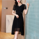 Dress Summer 2021 black M L XL 2XL Mid length dress singleton  Short sleeve commute middle-waisted Solid color Socket other routine Others 30-34 years old Type A Mu Yixin lady XBH9765 More than 95% other other Other 100% Pure e-commerce (online only)
