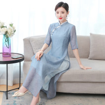 Dress Summer 2021 Picture color M L XL 2XL 3XL 4XL Mid length dress other elbow sleeve commute Scarf Collar middle-waisted other routine Others 35-39 years old Type A Mu Yixin literature NEJ8239 More than 95% other other Other 100% Pure e-commerce (online only)