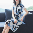 Dress Summer 2021 Black flower M L XL 2XL 3XL Middle-skirt singleton  Short sleeve stand collar Loose waist Decor Single breasted A-line skirt routine Others 30-34 years old Type A Mu Yixin bow XBH6782 More than 95% other other Other 100% Pure e-commerce (online only)
