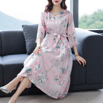 Dress Summer 2021 Picture color M L XL 2XL 3XL longuette singleton  Long sleeves commute V-neck middle-waisted Decor Socket A-line skirt routine 35-39 years old Type A Mu Yixin lady printing XBH6830 More than 95% brocade other Other 100% Pure e-commerce (online only)