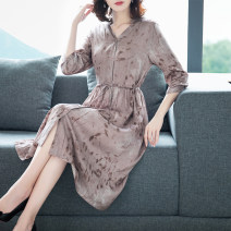 Dress Summer 2021 Blue brown M L XL 2XL 3XL Miniskirt singleton  three quarter sleeve commute V-neck Loose waist Decor Single breasted A-line skirt shirt sleeve Others 35-39 years old Type A Mu Yixin Korean version Lace up button print NEJ3006 More than 95% other Other 100%