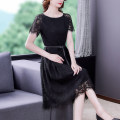 Dress Summer 2021 black S M L XL 2XL Mid length dress singleton  Short sleeve commute One word collar Solid color Socket A-line skirt routine 35-39 years old Type A Mu Yixin lady Lace XBH8255 More than 95% Lace other Other 100% Pure e-commerce (online only)