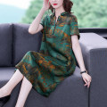 Dress Summer 2021 Mid length dress singleton  Short sleeve commute stand collar Loose waist other Condom Pencil skirt routine 40-49 years old Mu Yixin Retro NRJ8195 51% (inclusive) - 70% (inclusive) brocade silk Mulberry silk 60% others 40% Pure e-commerce (online sales only) L XL 2XL 3XL 4XL
