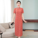 Dress Summer 2021 gules 3XL S M L XL 2XL longuette singleton  Short sleeve commute stand collar High waist Abstract pattern zipper A-line skirt routine Others 35-39 years old Type A Mu Yixin ethnic style zipper NEJ5475 More than 95% other other Other 100% Pure e-commerce (online only)