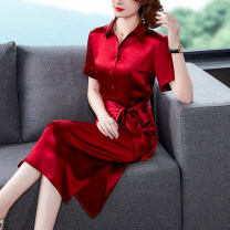Dress Summer 2021 claret S M L XL 2XL 3XL Mid length dress singleton  Short sleeve tailored collar middle-waisted Solid color other other other 35-39 years old Mu Yixin XBH6534 More than 95% other other Other 100% Pure e-commerce (online only)