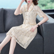 Dress Summer 2021 Apricot S M L XL 2XL longuette singleton  Short sleeve commute Doll Collar Elastic waist zipper A-line skirt routine Others 30-34 years old Type H Mu Yixin Ol style XBH6607# More than 95% other Other 100% Pure e-commerce (online only)