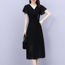 Women's large Summer 2021 black Large XL Large XXL large XXXL large XXXXL large Dress singleton  commute Self cultivation thin Socket Short sleeve Solid color Korean version V-neck Medium length polyester Collage Lotus leaf sleeve XBH7923 Mu Yixin 35-39 years old Button Medium length Other 100%