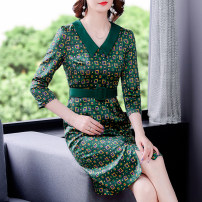 Dress Summer 2021 green L XL 2XL 3XL 4XL Mid length dress singleton  Short sleeve commute Doll Collar middle-waisted Socket A-line skirt routine 35-39 years old Type A Mu Yixin Korean version NEJ9135 More than 95% other Other 100% Pure e-commerce (online only)