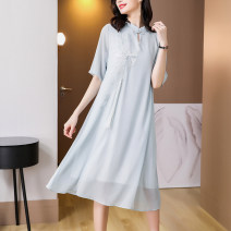 Dress Summer 2021 wathet Average size (90-150 kg) Mid length dress singleton  Short sleeve middle-waisted Solid color other other other 35-39 years old Mu Yixin XBH6841 More than 95% other other Other 100% Pure e-commerce (online only)