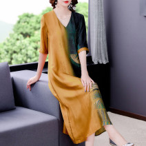 Dress Summer 2021 Decor L XL 2XL 3XL 4XL Mid length dress singleton  Short sleeve commute V-neck Loose waist Decor other other routine Others 40-49 years old Mu Yixin Retro Button NEJ9928 More than 95% other Other 100% Pure e-commerce (online only)