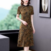 Dress Summer 2021 Red light yellow L XL 2XL 3XL 4XL Middle-skirt singleton  Nine point sleeve commute Crew neck middle-waisted Decor Socket Lantern skirt routine Others 40-49 years old Type A Mu Yixin lady More than 95% Silk and satin other Other 100% Pure e-commerce (online only)