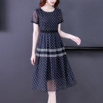 Dress Summer 2021 navy blue M L XL 2XL 3XL 4XL longuette singleton  Short sleeve commute Crew neck middle-waisted Decor Socket A-line skirt other 35-39 years old Mu Yixin Retro XBH6800 More than 95% other Other 100% Pure e-commerce (online only)