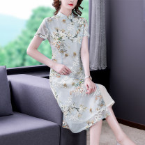 Dress commute A-line skirt Type A Korean version Summer 2021 longuette singleton  Short sleeve stand collar Design and color middle-waisted 40-49 years old zipper routine More than 95% other Other NRJ6659# Embroidery Mu Yixin brocade Other 100% Pure e-commerce (online sales only) L XL 2XL 3XL 4XL