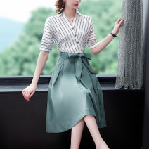 Dress Summer 2021 White + Green S M L XL 2XL 3XL Middle-skirt singleton  Short sleeve commute V-neck middle-waisted stripe Socket A-line skirt routine 35-39 years old Mu Yixin lady NEJ5965 More than 95% other other Other 100% Pure e-commerce (online only)