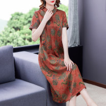 Dress Summer 2021 Coffee green red L XL 2XL 3XL 4XL Mid length dress singleton  Short sleeve commute Doll Collar Loose waist Socket routine 40-49 years old Type A Mu Yixin Retro NEJ0871 More than 95% other Other 100% Pure e-commerce (online only)